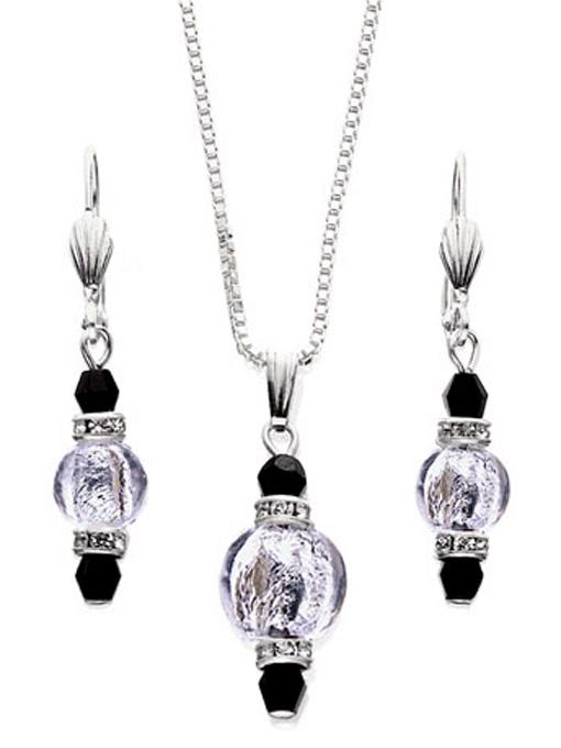 Silver Murano Glass Set