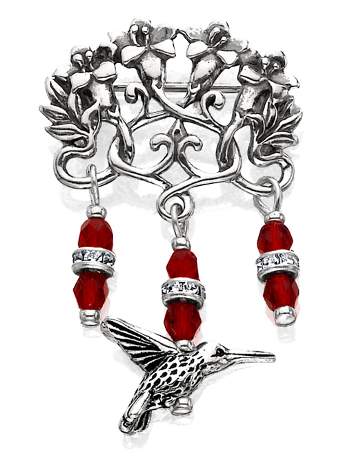 Humming Bird & Red Crystal Pin